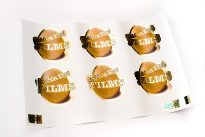 Custom shape metallic gold stickers