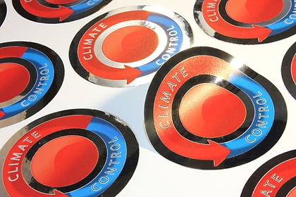 Circular metallic silver stickers