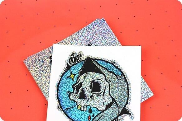 Sparkly sticker printing