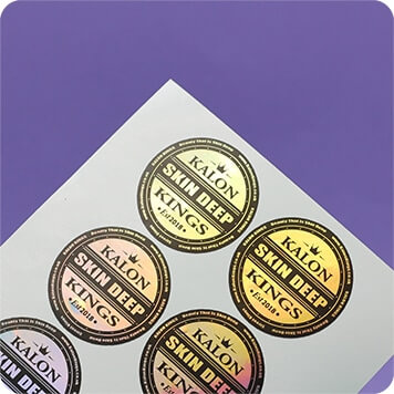 metallic labels on sheets