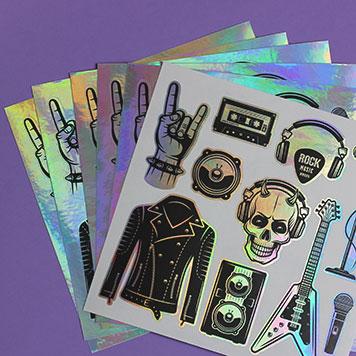 custom metallic sticker sheets